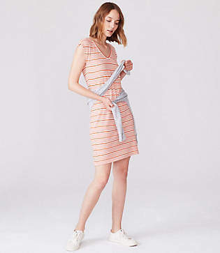 Lou & Grey Striped Cap Sleeve Tee Dress