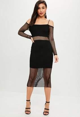 Missguided Black Long Sleeved Fishnet Maxi Dress, Black