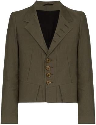 Ann Demeulemeester single breasted buttoned cotton linen blend jacket