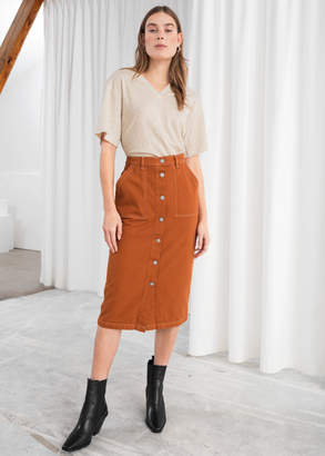 1f817630f4 And other stories Mid Rise Denim Midi Skirt