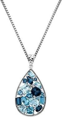 Lord & Taylor Sterling Silver Multi-Blue Topaz Pendant