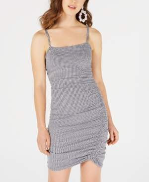 Sequin Hearts Juniors' Gingham Ruched Slip Dress