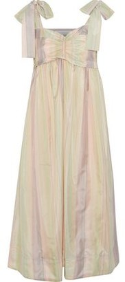 See by Chloe Bow-detailed Ruched Striped Sateen Midi Dress