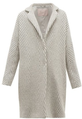 Herno Snowflake Metallic Wool Herringbone Jacket - Womens - Silver Multi