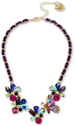 "Betsey Johnson Gold-Tone Multi-Stone Butterfly & Ribbon Statement Necklace, 16"" + 3"" extender"