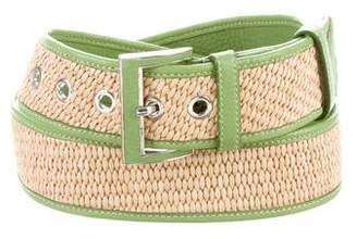 Prada Straw & Leather Belt