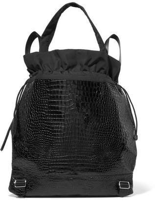 Elizabeth and James Keely Croc-effect Glossed-leather And Shell Backpack - Black