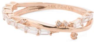 14k Rose Gold Cubic Zirconia Baguette Ring
