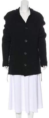 Issey Miyake Leather-Trimmed Wool Cardigan