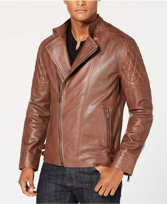 INC International Concepts I.n.c. Men Asymmetrical Full-Zip Leather Jacket