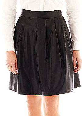 JCPenney Worthington Faux-Leather Pleated A-Line Skirt