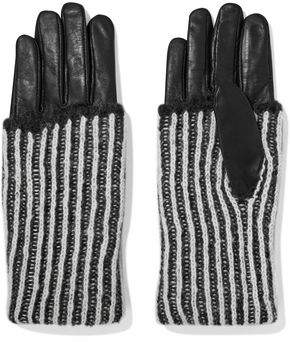 Y-3 + Adidas Originals Leather-Trimmed Mohair Gloves