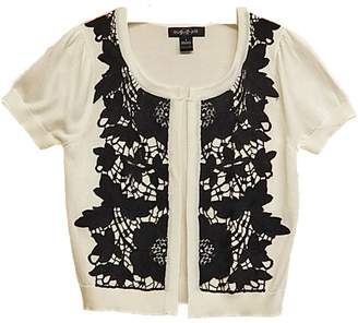 August Silk Black-Lace White Sweater