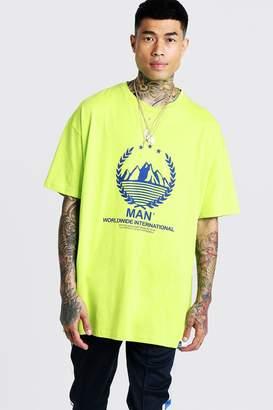 boohoo MAN Oversized T-Shirt With Print & Tab