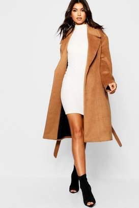 boohoo Belted Brushed Wool Look Coat