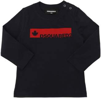 DSQUARED2 Leaf & Logo Jersey Long Sleeve T-Shirt