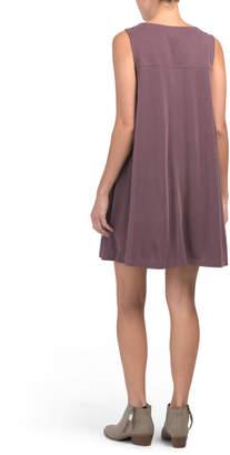 Sleeveless V Neck Trapeze Dress