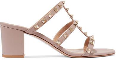 Valentino - The Rockstud Leather Sandals - Blush