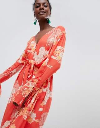 Free People Mixed Print Twist Midi Dress