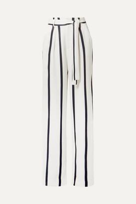 Equipment Evonne Striped Satin Wide-leg Pants - White