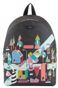 BOSS Hugo Limited-edition monogrammed backpack colored Jeremyville landscape print One Size Patterned