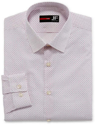 Jf J.Ferrar Easy-Care Solid Stretch Long Sleeve Woven Pattern Dress Shirt - Slim