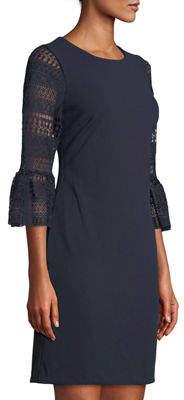 Donna Ricco Crochet Bell-Sleeve Shift Dress