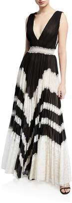 Alice + Olivia Tess Sunburst V-Neck Sleeveless Pleated Maxi Dress w/ Lace