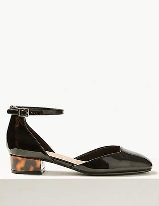 M&S Collection Block Heel Square Toe Court Shoes