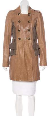 Tibi Leather Double-Breasted Coat