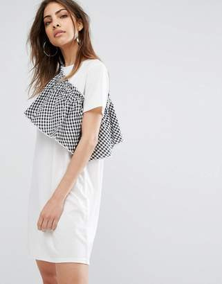 Daisy Street T-Shirt Dress With Gingham Ruffle $37 thestylecure.com
