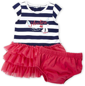Nautica Newborn Girls) Two-Piece Stripe Logo Tutu Dress & Bloomers Set