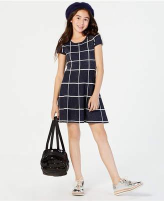 Sequin Hearts Big Girls Metallic Tile-Print Fit & Flare Dress