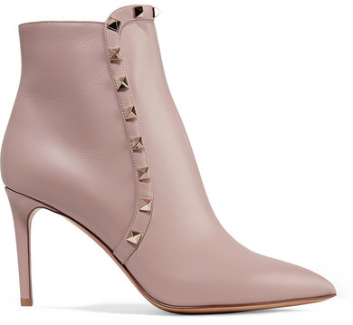 Valentino - Valentino Garavani Studded Leather Ankle Boots - Baby pink
