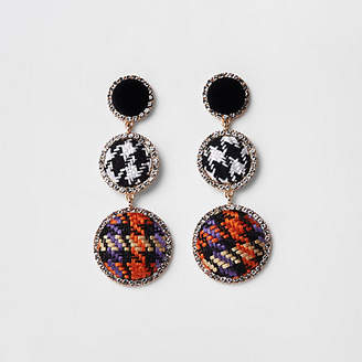 River Island Black check rhinestone boucle drop earrings