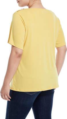 Carmen Marc Valvo Carmen By Cowl-Neck Zip-Shoulder Blouse, Plus Size