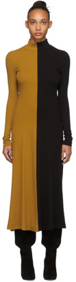 Rosetta Getty Yellow and Black Zip-Up Turtleneck Dress