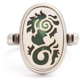 Elie Top - Diamond, Agate & Silver 4 Elements Ring - Womens - Green