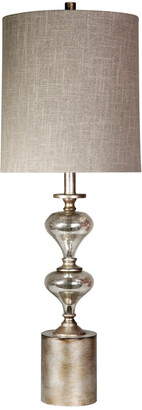 Stylecraft Style Craft Brushed Metal & Mercury Silver Glass Table Lamp