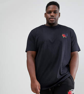 Duke King Size logo t-shirt with rose embroidery in black