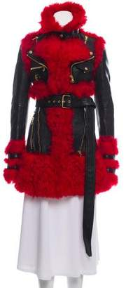 Alexander McQueen Fur-Paneled Leather Coat