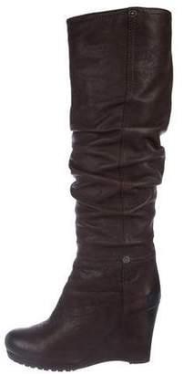 Prada Sport Leather Wedge Knee-High Boots