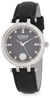 Versace Stainless Steel Leather Band Watch
