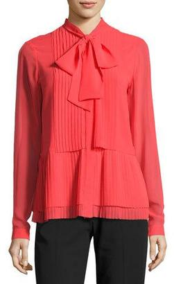 MICHAEL Michael Kors Long-Sleeve Bow-Neck Pleated Blouse, Pink $125 thestylecure.com