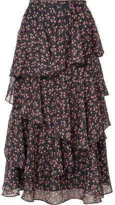 ALEXACHUNG Tiered Floral-print Chiffon Midi Skirt - Black