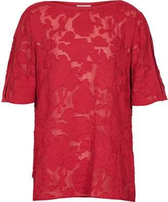 Reiss Gabriella - Burnout Floral Top in Redcurrant