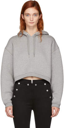 Alexander Wang Grey Dense Fleece Cropped Hoodie