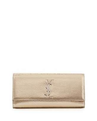 Saint Laurent Kate Monogram Crackled Leather Clutch Bag