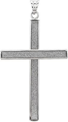 14K White Gold Glitter Infused Cross Pendant