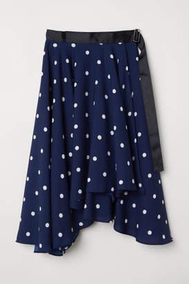 H&M Wide-cut Wrap-front Skirt - Blue